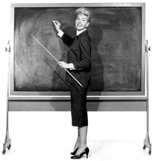 Black and White photograph of a teacher